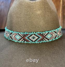 NATIVE DESIGN Handmade Beaded Hatband HAT BAND GENUINE TURQUOISE STERLING SILVER