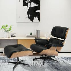 NEW Genuine Leather Eame\s Lounge Chair Ottoman Mid-Century Ash wood Black