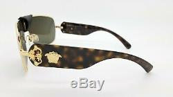 NEW Versace sunglasses BAROQUE VE2207Q 1002/3 Black Gold Brown GENUINE leather