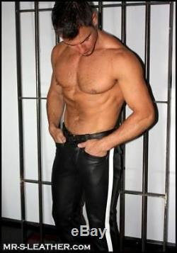 New Genuine Leather Pants Uniform Pants Stripe Police Role play Fetish Kink Gay