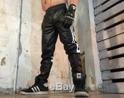 New Genuine Leather TRACK PANTS Joggers Side Strip Sports Fetish Mens Pajamas