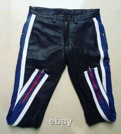 New Men Striped Genuine Leather Trousers Mixed Color Motorcycle Nightclub Pants