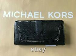 New Michael Kors Brookville Black Genuine Leather Carry All Wallet Clutch