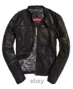 New Superdry Real Hero Biker Leather Jacket Size L 40 (102cm) RRP £199.99
