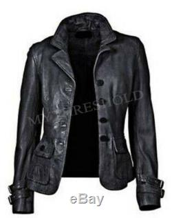 New Women's Genuine Lambskin Soft Leather Motorcycle Slim fit Biker Jacket/Coat