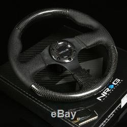 Nrg 315mm 6-holes Steering Wheel Leather/real Carbon Fiber Grip Black Stitching