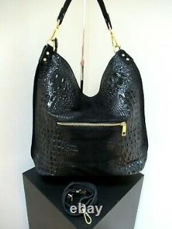 Nwt Italian X-large Shoulder Bag Genuine Leather Croco Embossed Made In Italy