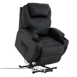 Power Lift Chair Real Leather Recliner Armchair Elderly Chair Lounge Seat Black