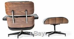 Premium Eames Lounge Chair & Ottoman Italian Black Leather Real Walnut Wood