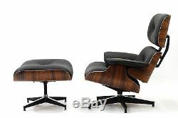 RETRO Plywood Lounge Chair Ottoman Palisander Genuine TOP GRAIN Italian Leather