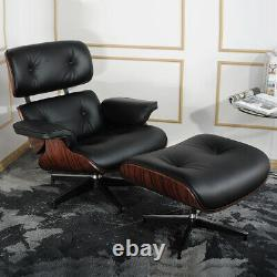 ROSEWOOD EAMS Lounge Chair & ottoman Genuine Italian Leather Armchair Recliner
