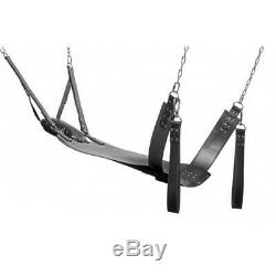 Real Black Leather Sling Heavy Duty Sex Swing Sling Adult Play