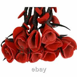 Real Genuine Cow Hide Leather Thuddy Flogger 9 Braided Falls & Heavy Red Roses