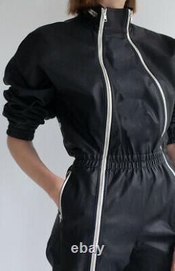 Real Leather Jumpsuit Leather Jacket Black leather Catsuit bodysuit