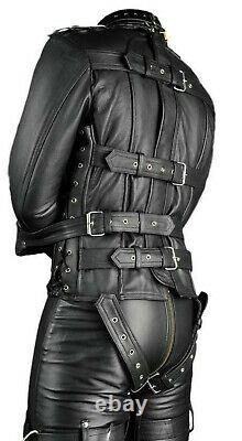Real Soft Leather Mens Restraint Straitjacket & Pant With Lockable Mechanism