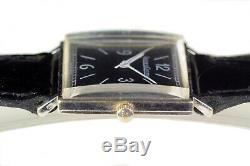 Real Vintage Jaeger Lecoultre In 18k White Gold Swiss Manual Wind Square Watch