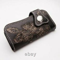 Rider Inferno Chain Skull Carved Genuine Leather Wallet Biker Long New Black