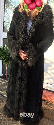 Stunning Real Suede Leather Mongolian Fur Coat Jacket 40 12 Afghan