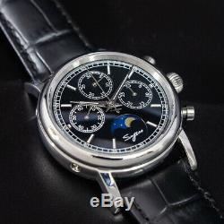 Sugess Genuine Moonphase Master II Chronograph Mechanical Mens Watch SU1908BSB