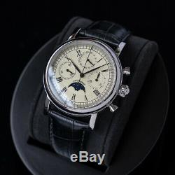 Sugess Genuine Seagull ST1908 Movement M199S Moon Phase Mens Mechanical Watch