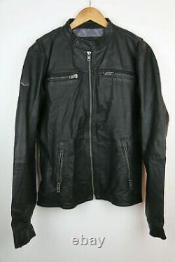 Superdry Real Hero Biker Leather Jacket Size XL RRP £199.99