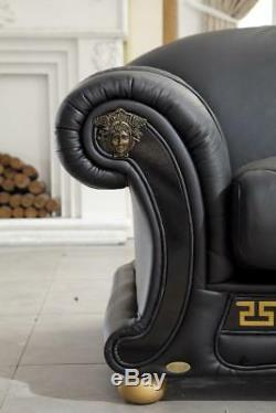 Traditional Black Genuine Top Grain Italian Leather Sectional RHC ESF Apolo