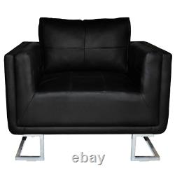 VidaXL Cube Armchair with Chrome Feet Real Leather Black Luxury Furniture Home