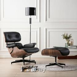 Walnut black lounge chair and Footstool 100% genuine leather armchair Recliner