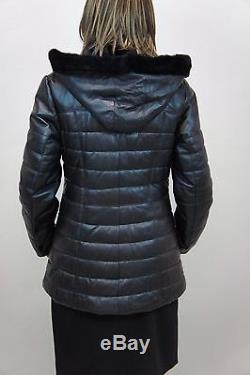 Women Black 100% Genuine Lamb Leather Puffer Jacket Coat Lined Sheep Fur Xs-6xl