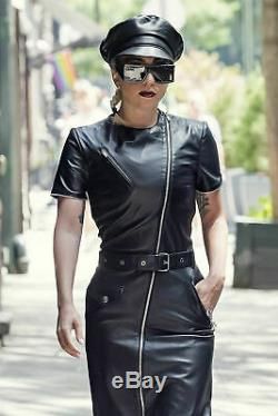 Women Genuine Leather Dress Black Leather Overall With Belt Long Zip Short/Mini