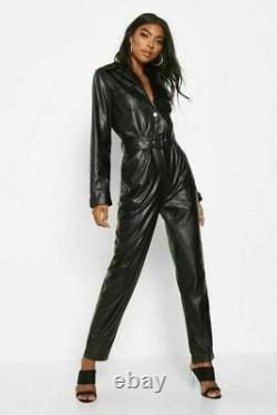 Women Genuine Leather Jumpsuit Black Real Leather Catsuit/Romper With Belt