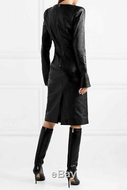 Women Genuine Soft Leather Dress Cocktail V-neck Leather Overall Bodycon Dress