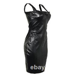 Women real leather Black Bodycon Dress Leather Sleeveless Party Dress