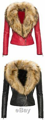 Women's 100 % Lamb Leather Biker Jacket with Real Raccoon Fur