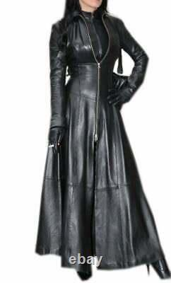 Women's Real Leather Long Dress Black Gown Leather Mistress Suit Gothic Coat