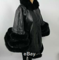 Womens Genuine Leather Cape Real Fox Fur Trim Black (one Size Fits All Jacket)