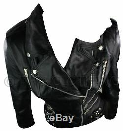 Womens Ladies Real Soft Leather Racing Style Biker Jacket NEW